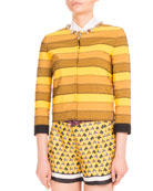 Kryla Ribbon-Stripe Jeweled Jacket, Mustard