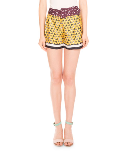 Koray Horse Tie Printed Shorts, Horses Ties Yellow