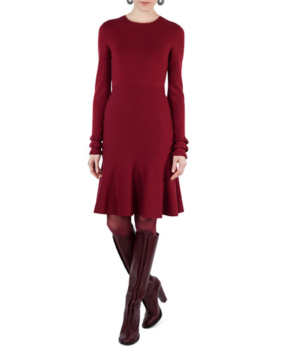 Knit Wool Ruffle-Cuff Dress