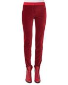 Mara Stretch-Velvet Combo Pants