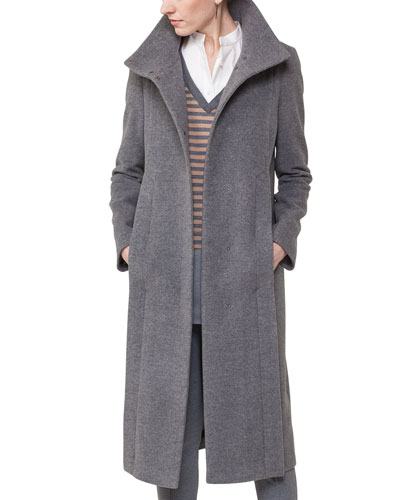 coat cashmere wool longstand