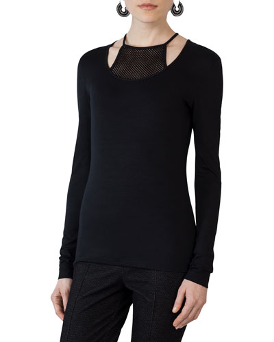 Long-Sleeve Jersey Top w/Mesh Halter