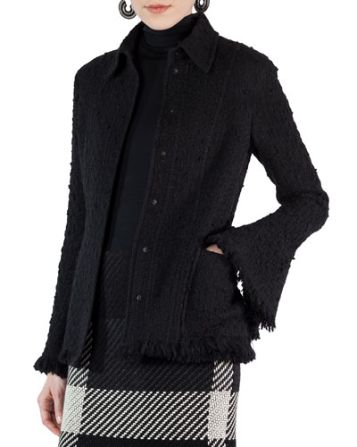 Fringed Boucle Button-Front Jacket