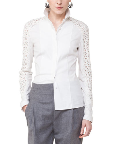 Lace-Sleeve Poplin Blouse
