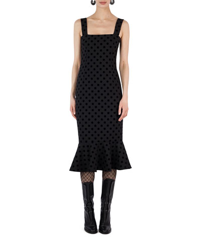 Square-Neck Velvet Dot Midi Dress
