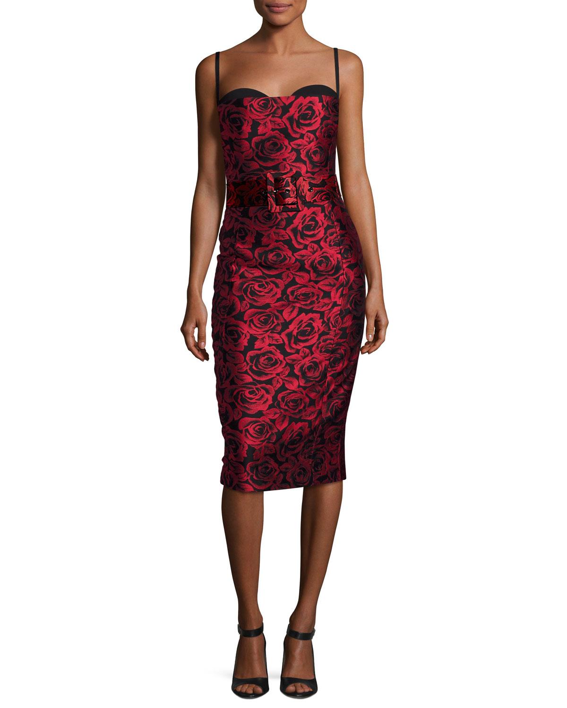 Rose Jacquard Sleeveless Cocktail Dress, Red/Black