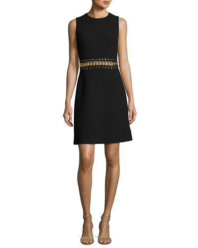 Chain-Inset Sleeveless Minidress, Black
