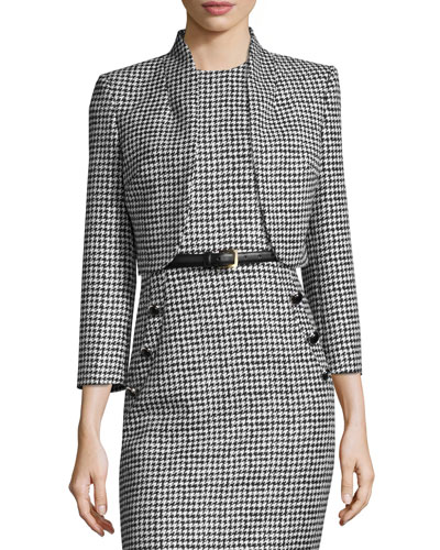 Wool Jacquard Houndstooth Bolero Jacket, Black/White