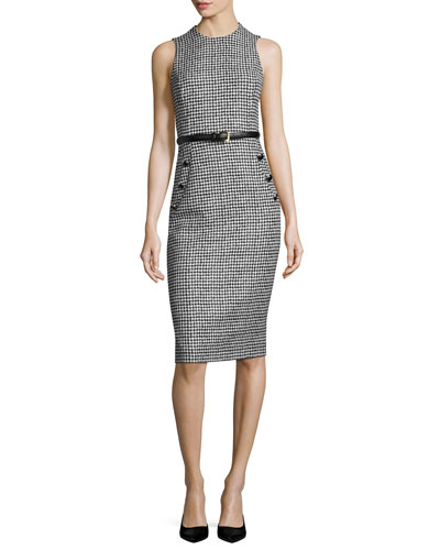 Houndstooth Belted Sleeveless Sheath Dress, Black/White