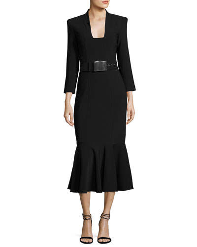 Pebbled Crepe Belted Sheath Dress, Black