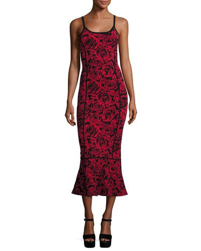 Floral Jacquard Sleeveless Trumpet Dress, Red/Black