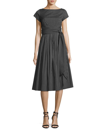 Windowpane Check Poplin Belted Midi Dress, Black/White