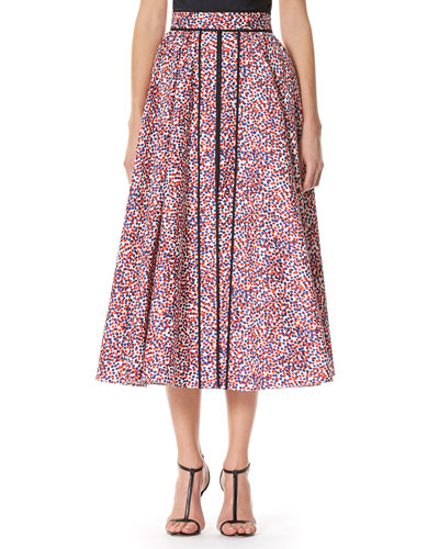 Polka-Dot A-line Midi Skirt, Multicolor