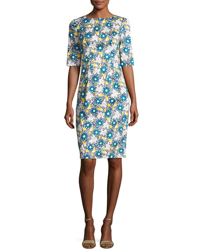 Floral-Print 1/2-Sleeve Sheath Dress, Multicolor