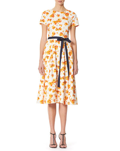 Butterfly-Print Midi Dress with Belt, Multicolor