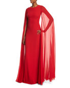 Silk Crepe Chiffon Cape Gown, Crimson