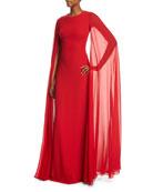 Silk Crepe Chiffon Cape Gown, Crimson