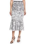 Rose Paillettes Trumpet Skirt, Black/White
