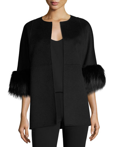 Cookie Collarless Car Coat with Fox Fur Cuffs, Black
