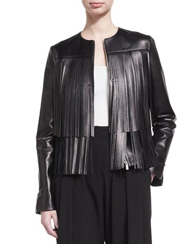 Fringed Leather Jacket, Black