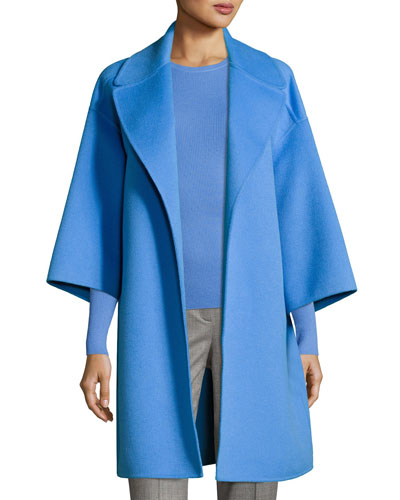 Wool Melton Car Coat, Blue