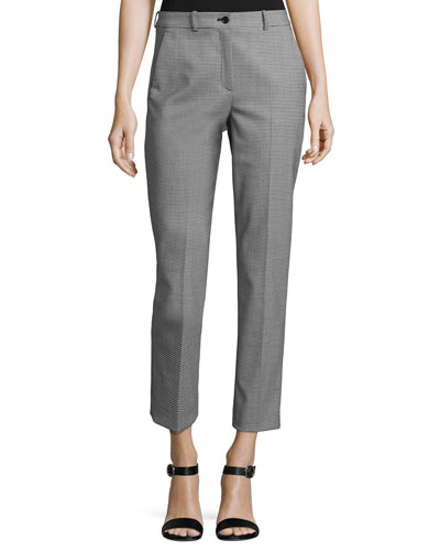Samantha Mini-Houndstooth Cropped Pants, Black/White