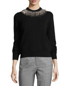 Ribbed Cashmere Sweater with Safety Pin Necklace, Black