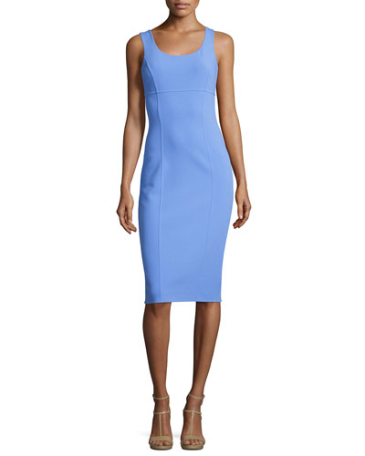 Sleeveless Virgin Wool Sheath Dress, Blue