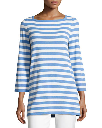 Striped Cashmere 3/4-Sleeve Sweater, Blue