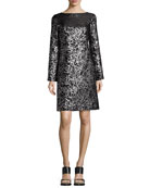 Metallic Floral Jacquard Long-Sleeve Shift Dress, Black
