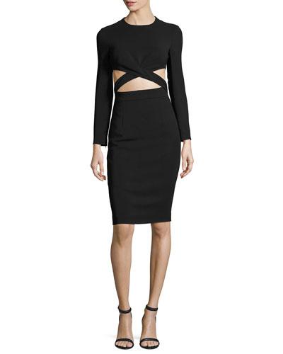 Cutout-Midriff Long-Sleeve Cocktail Dress, Black