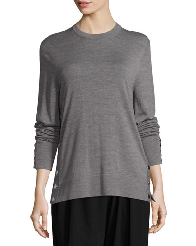 Merino Wool Side-Snap Sweater, Gray
