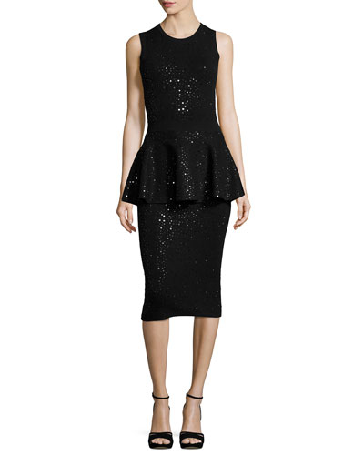 Embellished Sleeveless Peplum Dress, Black