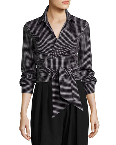 Windowpane Check Poplin Wrap Blouse, Black/White
