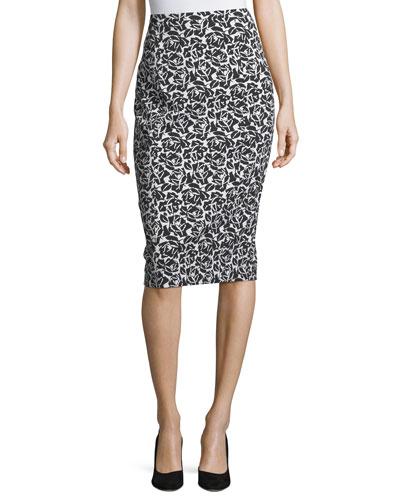 Floral Jacquard Pencil Skirt