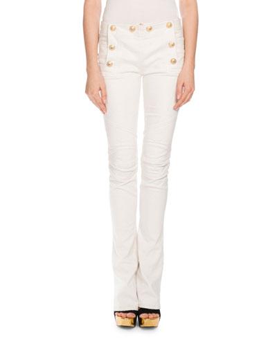 Balmain Cottons SAILOR-BUTTON BOOT-CUT JEANS, WHITE
