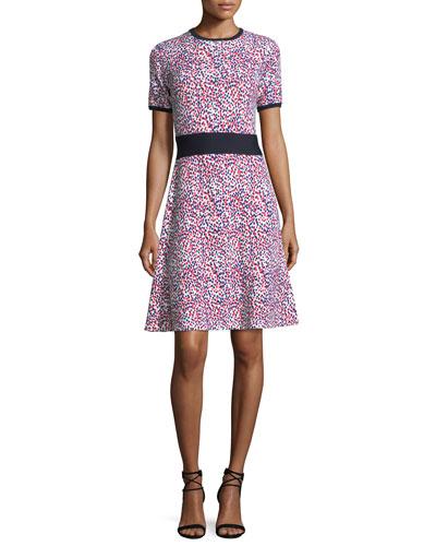 Short-Sleeve Polka Dot Knit Dress