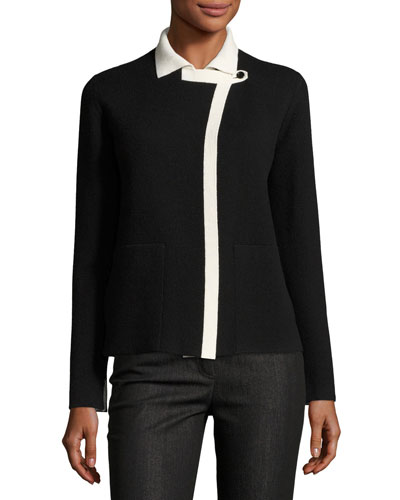 Reversible Cashmere Cardigan, Black/White