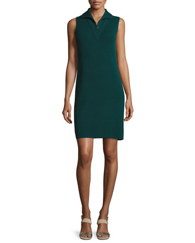 Sleeveless Knit Quarter-Zip Dress, Forest