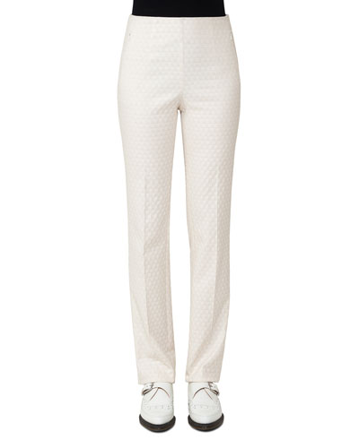 Constance Jacquard Slim Pants, Off White