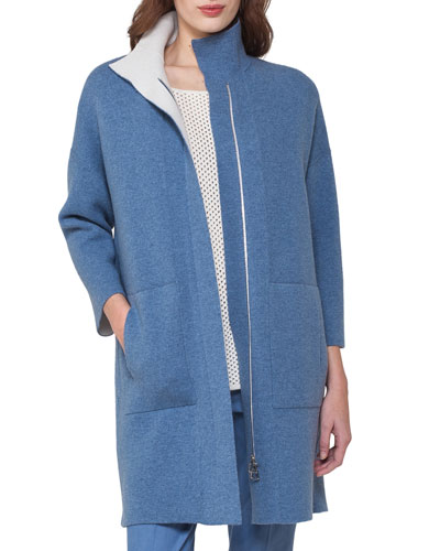 Reversible Cashmere Front-Zip Swing Cardigan, Light Blue