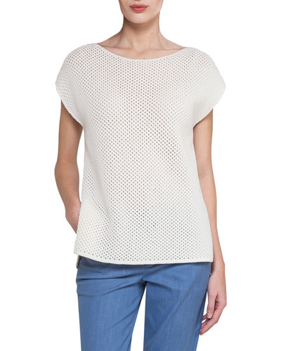 Cap-Sleeve Netted Cashmere-Cotton Short-Sleeve Sweater, Off White