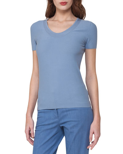 Short-Sleeve Piqué Scoop-Neck Sweater