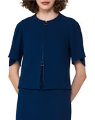 Double-Face Crepe Jacket, Blue