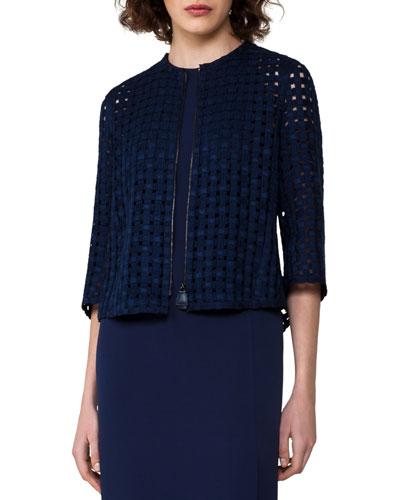 Grid-Pattern Zip-Front Jacket, Dark Blue