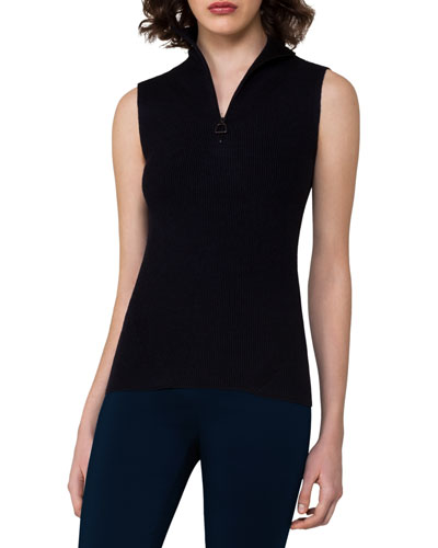 Ribbed Sleeveless Quarter-Zip Pullover, Blue