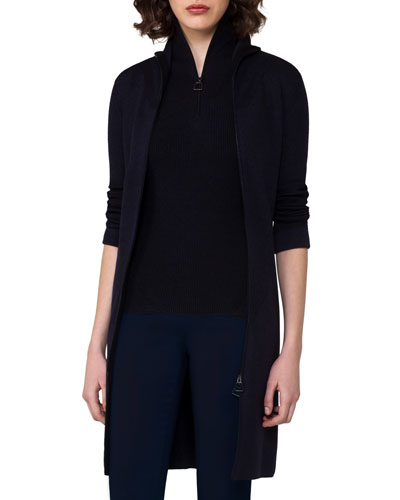 Ribbed Zip-Front Long Cardigan, Blue