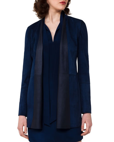 Leather Shawl-Collar Jacket, Blue