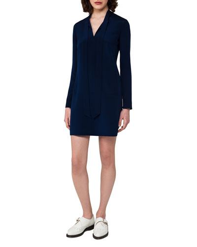 Silk Crepe Long-Sleeve Tie-Neck Tunic Dress, Blue