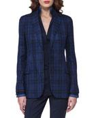 Plaid Silk-Cotton Two-Button Jacket, Dark Blue